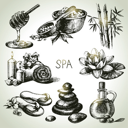 bath tub: Spa sketch icon set. Beauty vintage hand drawn illustrations Illustration