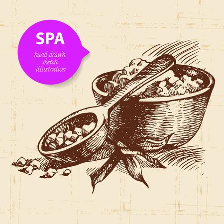 body massage: Spa background. Vintage hand drawn sketch illustration