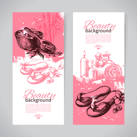bamboo therapy: Set of spa banners. Vintage hand drawn sketch vector illustrations