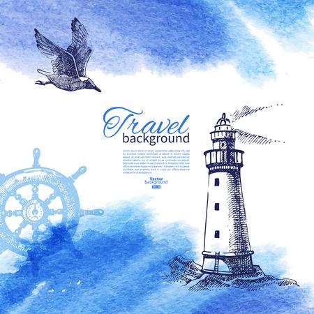 빈티지 배경 여행. 바다 해상 디자인. 손으로 그린 스케치와 수채화 그림