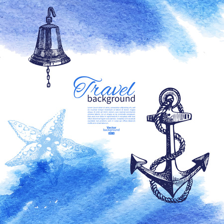 anchor drawing: Travel vintage background. Sea nautical design. Hand drawn sketch and watercolor illustration