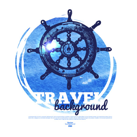navigating: Travel vintage banner. Sea nautical design. Hand drawn sketch and watercolor illustration Illustration