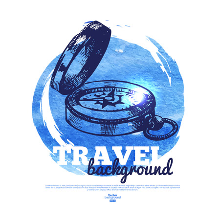Travel vintage banner. Sea nautical design. Hand drawn sketch and watercolor illustration Vector