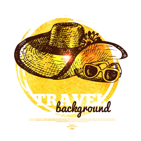 Travel tropical design banner. Hand drawn sketch and watercolor illustration