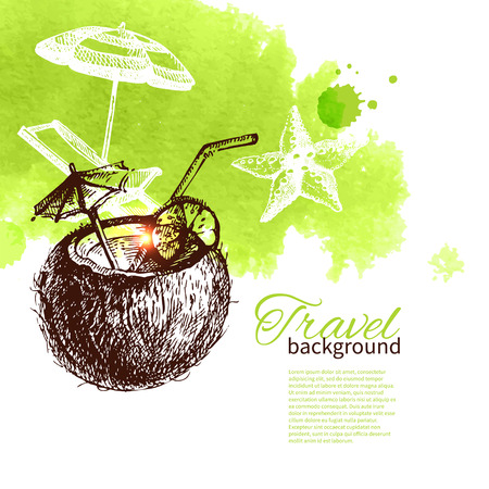Travel tropical design. Background with hand drawn sketch and watercolor illustration  Vector