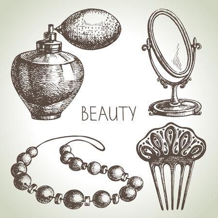 Beauty sketch icon set. Vintage hand drawn vector illustrations of cosmetics  Illustration