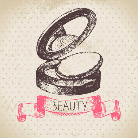 Beauty sketch background. Vintage hand drawn vector illustration of cosmetic Vector