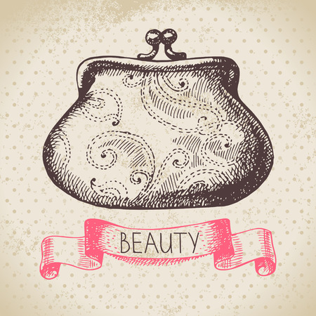 rouge: Beauty sketch background. Vintage hand drawn vector illustration of cosmetic Illustration