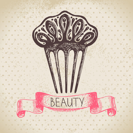 makeup products: Beauty sketch background. Vintage hand drawn vector illustration of cosmetic Illustration