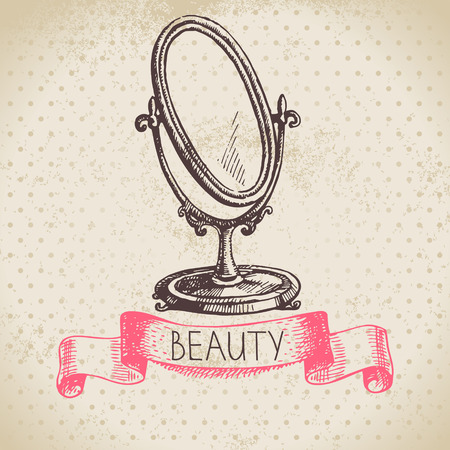 Beauty sketch background. Vintage hand drawn vector illustration of cosmetic Illustration