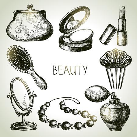 Beauty sketch icon set. Vintage hand drawn vector illustrations of cosmetics  Vectores
