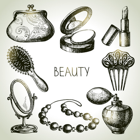 woman in mirror: Beauty sketch icon set. Vintage hand drawn vector illustrations of cosmetics  Illustration