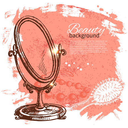Beauty sketch background. Vintage hand drawn vector illustration of cosmetic accessories  Vector