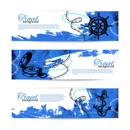 Set of travel vintage banners. Sea nautical design. Hand drawn sketch illustrations Vector