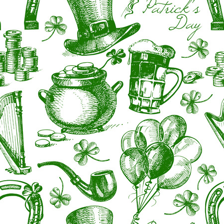 St. Patrick's Day seamless pattern with hand drawn sketch illustrations