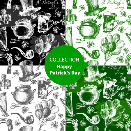 Set of St. Patrick's Day seamless patterns with hand drawn sketch illustrations  Vector