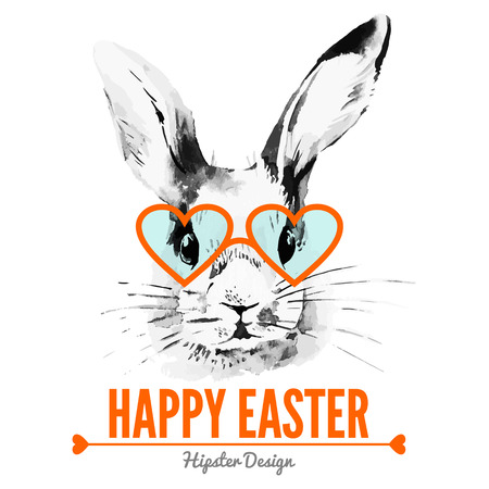 Hipster Easter rabbit. Card with sketch watercolor hand drawn illustration  Çizim