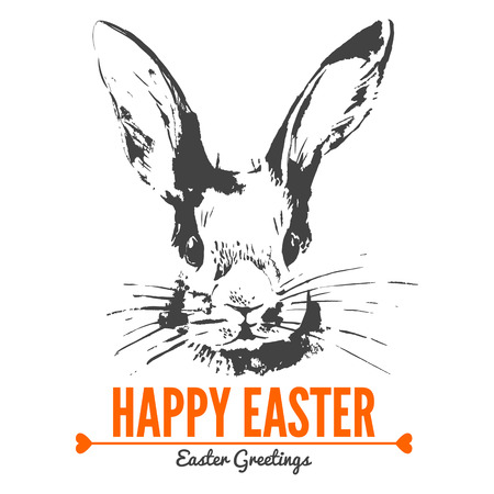 Card with sketch Easter rabbit. Hand drawn illustration  Ilustrace