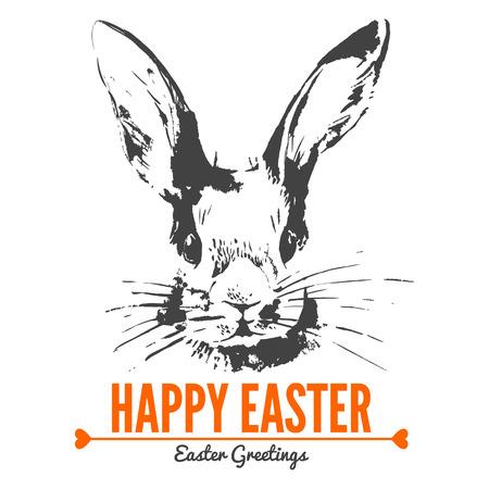 lapin silhouette: Carte avec croquis de lapin de Pâques. Main illustration tirée Illustration