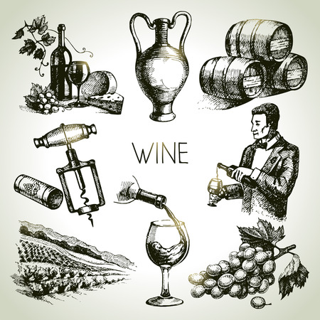 corkscrew: Hand drawn sketch vector wine set