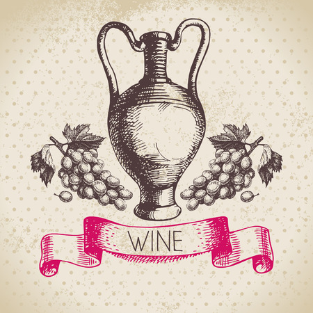 Wine vintage background. Hand drawn sketch illustration Vector