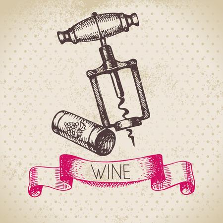 corcho: Fondo de la vendimia del vino. Dibujado a mano ilustración boceto Vectores