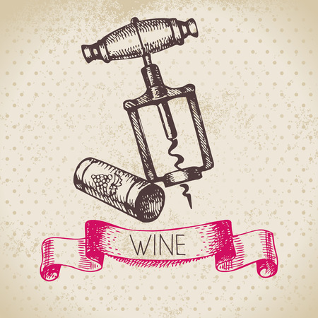 wine and food: Wine vintage background. Hand drawn sketch illustration