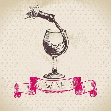 ワインのヴィンテージ背景。手描きのスケッチ図