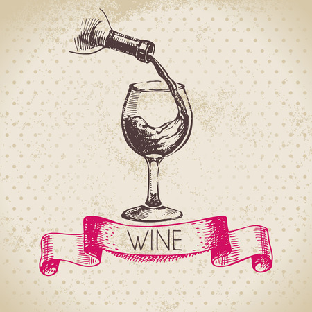 Wein Vintage Hintergrund. Hand gezeichnete Skizze Illustration Standard-Bild - 26191430