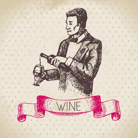 grunge bottle: Wine vintage background. Hand drawn sketch illustration