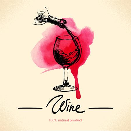 bouteille de vin: Vin fond vintage. Aquarelle tiré par la main illustration croquis. Menu design