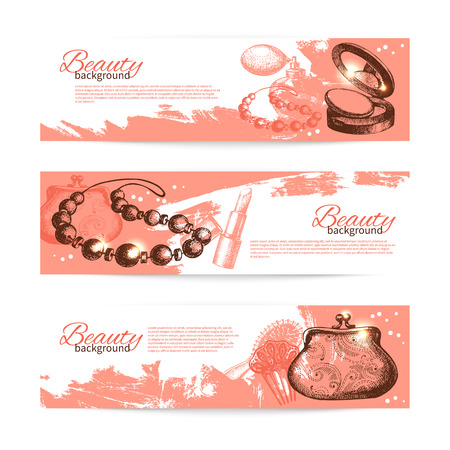 cosmetics collection: Set of beauty sketch banners. Vintage hand drawn vector illustration of cosmetic accessories