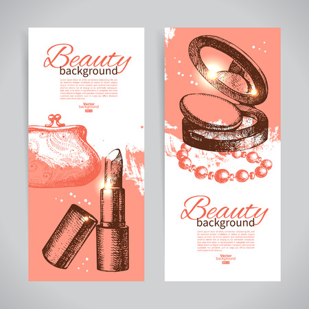 rouge: Set of beauty sketch banners. Vintage hand drawn vector illustration of cosmetic accessories