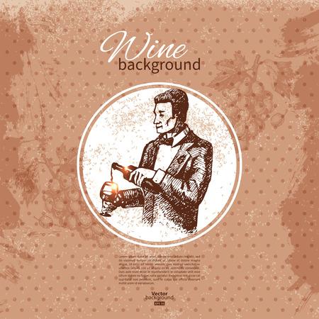 sommelier: Wine vintage background. Hand drawn sketch illustration. Menu design Illustration