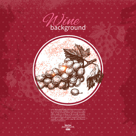 Wine vintage background. Hand drawn sketch illustration. Menu design Vector