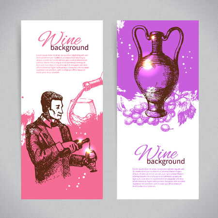 grunge bottle: Banners of wine vintage background. Hand drawn sketch illustrations