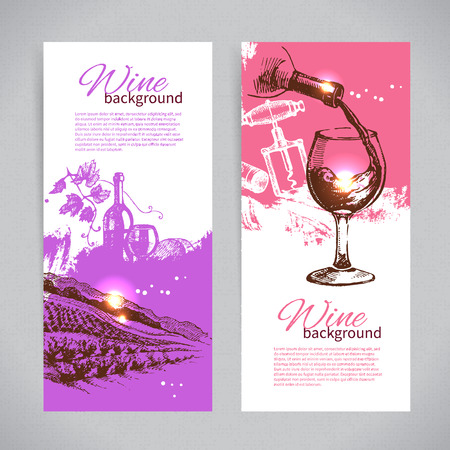 Banners of wine vintage background. Hand drawn sketch illustrations Vector