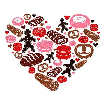 Candy heart. Set of sweet bakery icons Vector