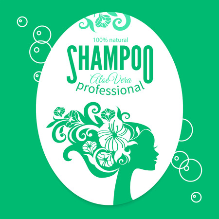 shampoo hair: Shampoo women label. Design template with girl silhouette. Cosmetics, beauty, health & spa, fashion themes.