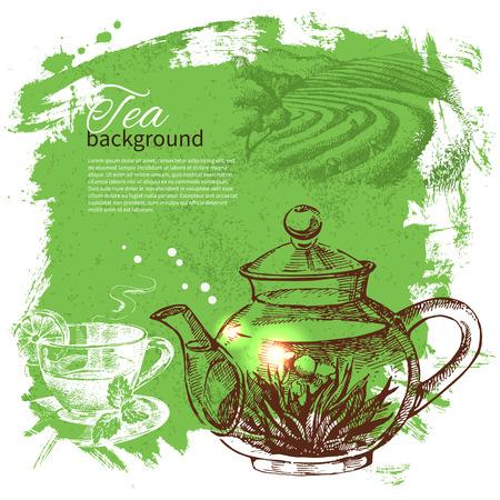 茶ビンテージ背景。手描きのスケッチ図。メニューのデザイン