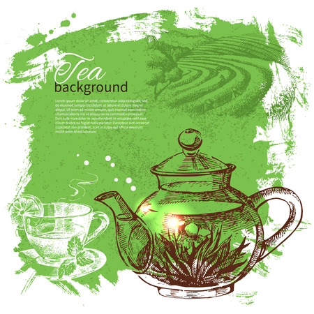 Tea vintage background. Hand drawn sketch illustration. Menu design  Ilustração
