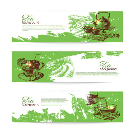 tea ceremony: Set of tea vintage banners. Hand drawn sketch illustrations. Menu design backgrounds Illustration