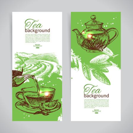 tea ceremony: Set of tea vintage banners. Hand drawn sketch illustrations. Menu design backgrounds