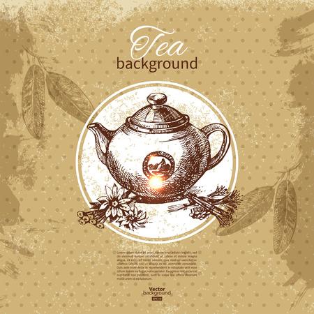 tea ceremony: Tea vintage background. Hand drawn sketch illustration. Menu design
