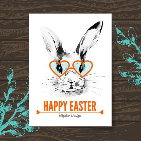Easter card. Hipster sketch watercolor Easter rabbit. Hand drawn illustration wooden background Vector