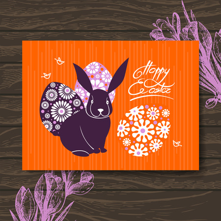 Easter card. Easter rabbit and eggs. Hand drawn illustration wooden background Vector