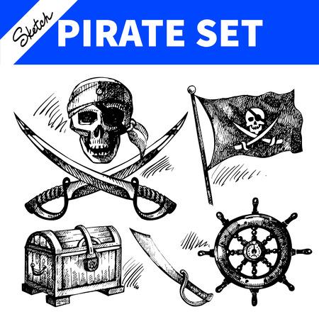 海賊セットをスケッチします。手描きイラスト