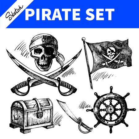 Sketch pirates set. Hand drawn illustrations  Vector
