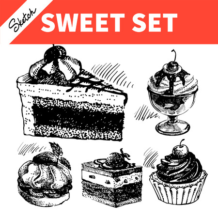 Sketch sweet set. Hand drawn illustrations of cake and ice cream Vector