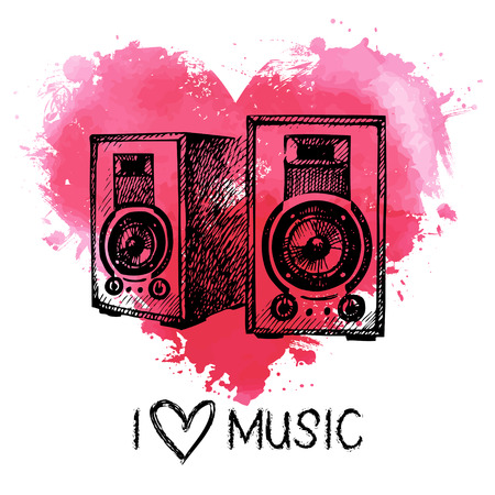 Music background with splash watercolor heart and sketch speakers. Hand drawn illustration